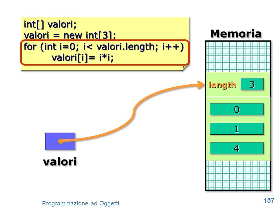 Memoria valori int[] valori; valori = new int[3];